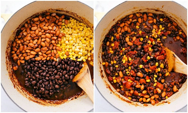 Overhead photo of the beans and corn being added to the pot for the vegetarian chili recipe.