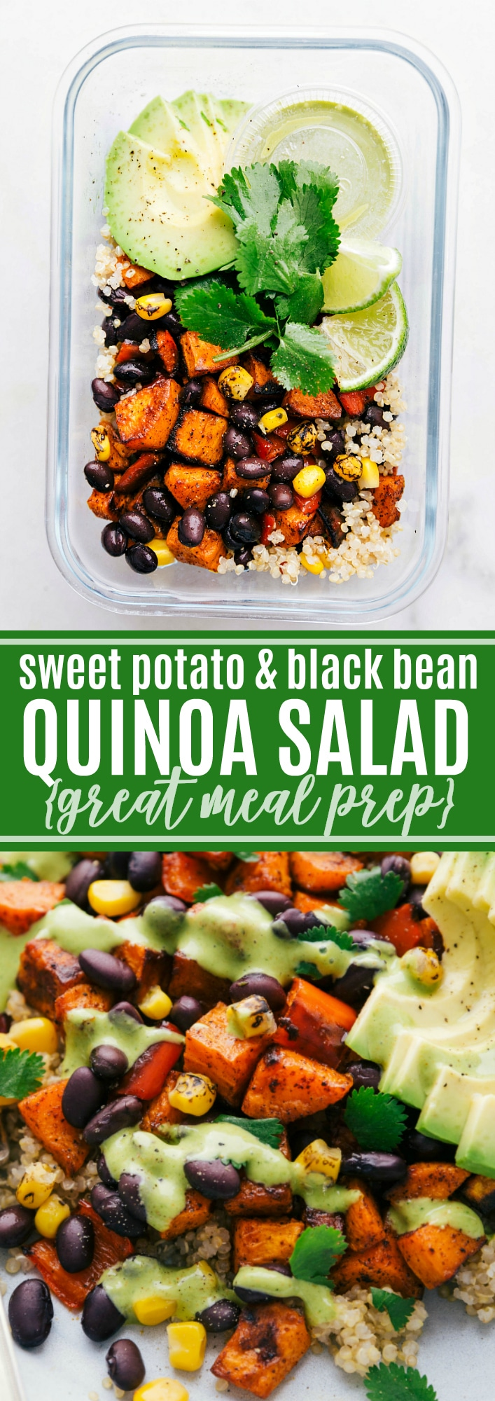 A quinoa black bean salad with roasted sweet potatoes, black beans, corn, red bell pepper, and a delicious cilantro lime dressing. This quinoa black bean salad makes a delicious meal, great weekly meal prep, or side dish via chelseasmessyapron.com #quinoa #black #bean #meal #prep #recipe #easy #quick #kid #friendly #sweet #potato #cilantro #dressing