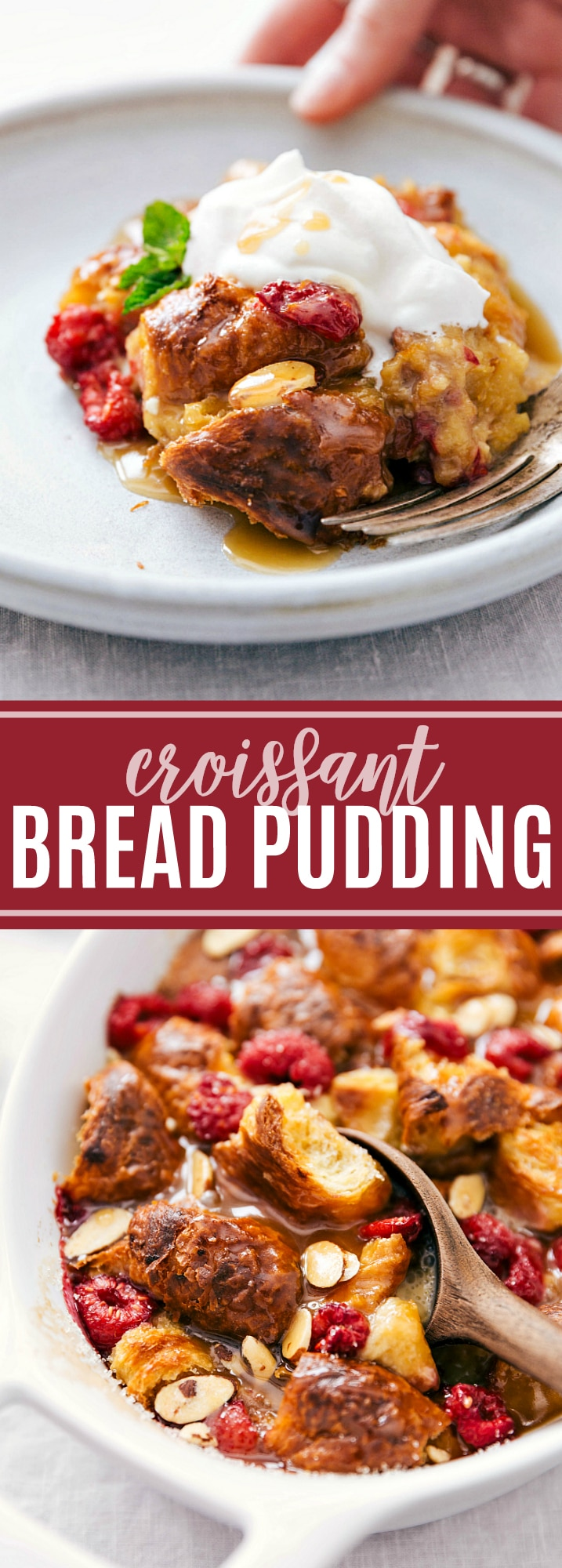 The best homemade bread pudding recipe with fresh raspberries, whipped cream, and a delicious vanilla sauce. Tips & tricks plus a few