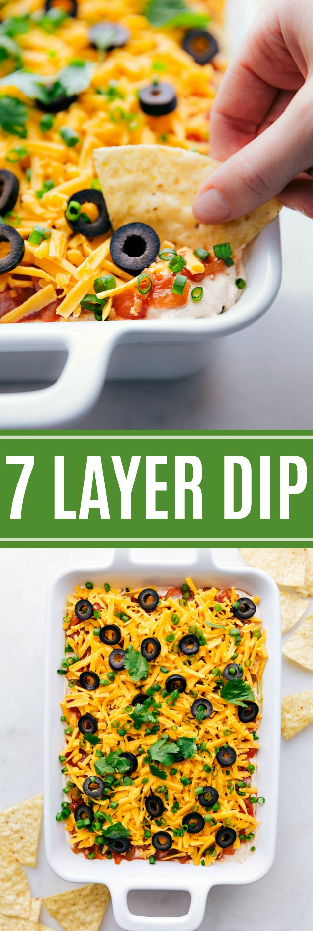 This 7 Layer Bean Dip is the ultimate game-day/party food. It's packed with delicious flavors and is so easy to assemble. via chelseasmessyapron.com #7 #layer #dip #easy #quick #game #day #food #appetizer #dips #party #food #newyearseve #kidfriendly #mexican