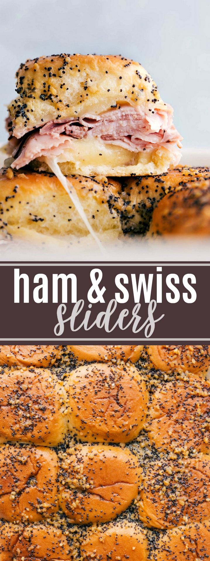 Buttery and delicious party food: ham and cheese sliders with sweet Hawaiian rolls, deli (or leftover holiday) ham, swiss cheese, and a deliciously seasoned buttery topping. via chelseasmessyapron.com #ham #swiss #slider #sliders #game #day #food #gameday #football #appetizer #app #sandwich #quick #easy #poppyseed
