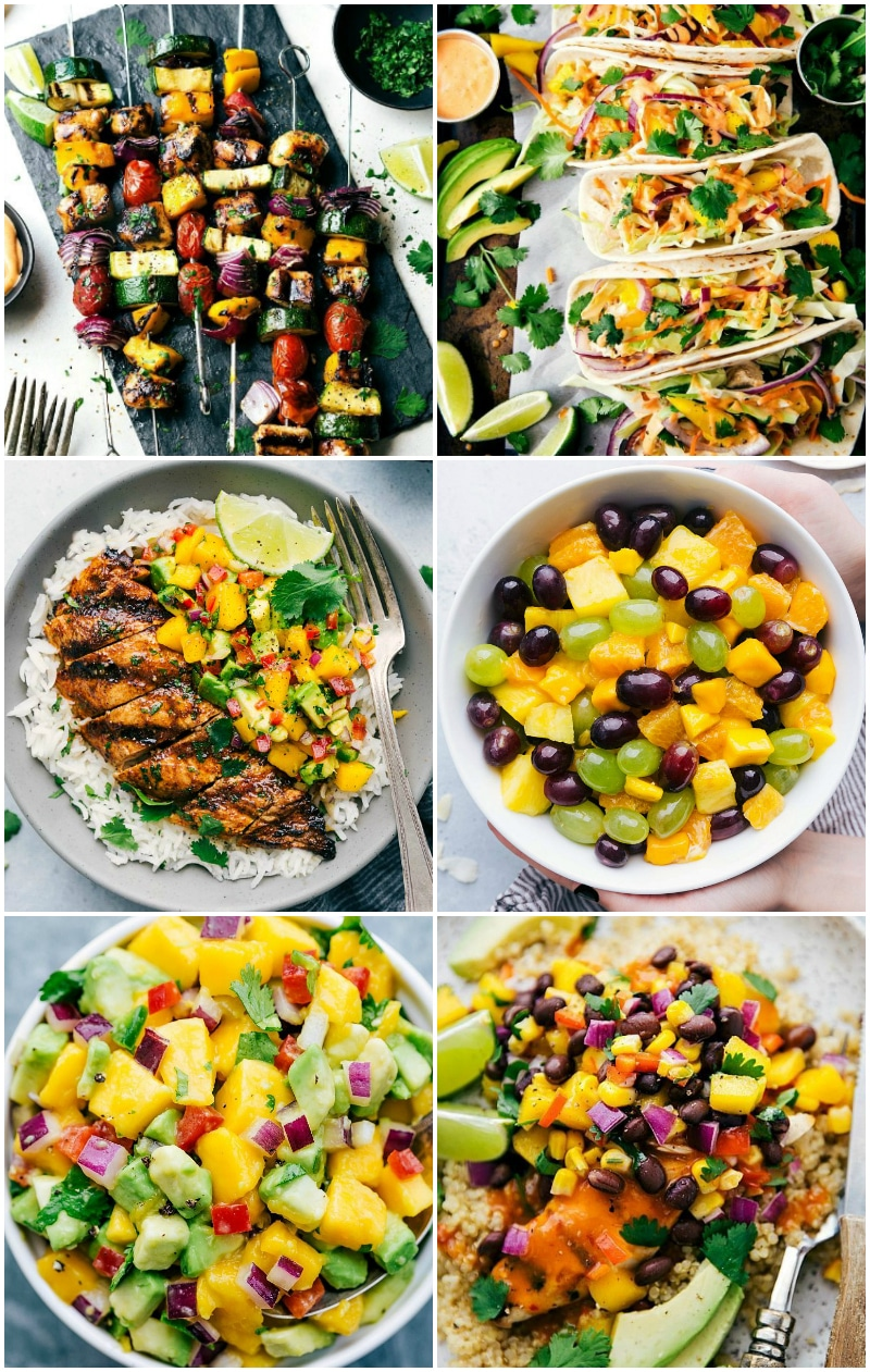 Images of all the different dishes on chelseasmessyapron that include fresh mango