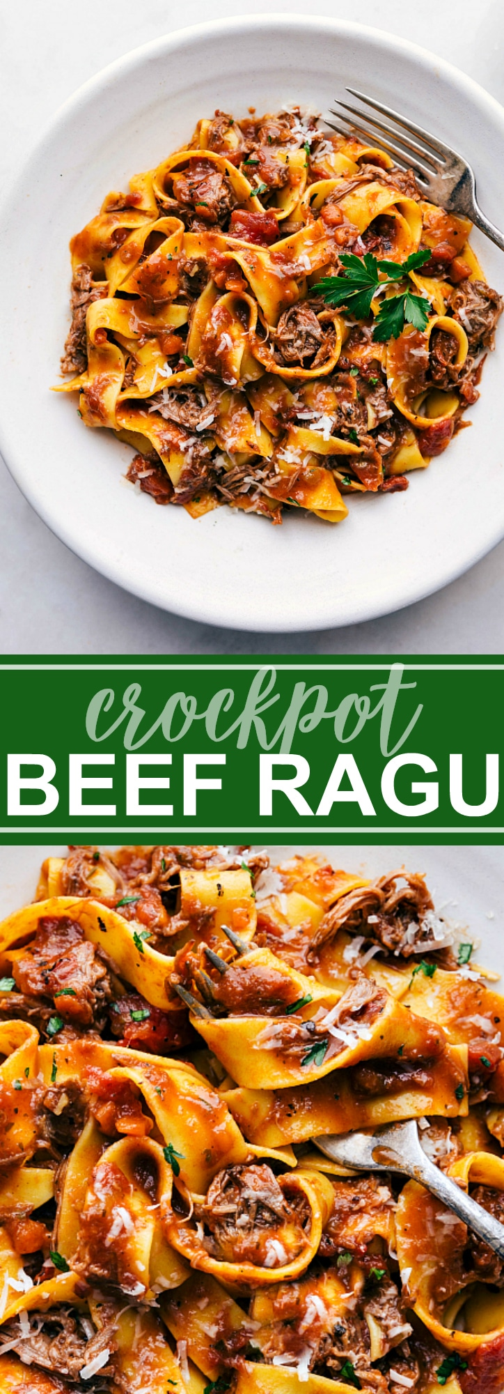 Beef ragu made in the crockpot (slow cooker) and served over pappardelle pasta. Delicious Italian-inspired cold weather comfort food. via chelseasmessyapron.com #crockpot #meal #recipe #easy #beef #ragu #red #meat #slow #cooker #pappardelle #pasta