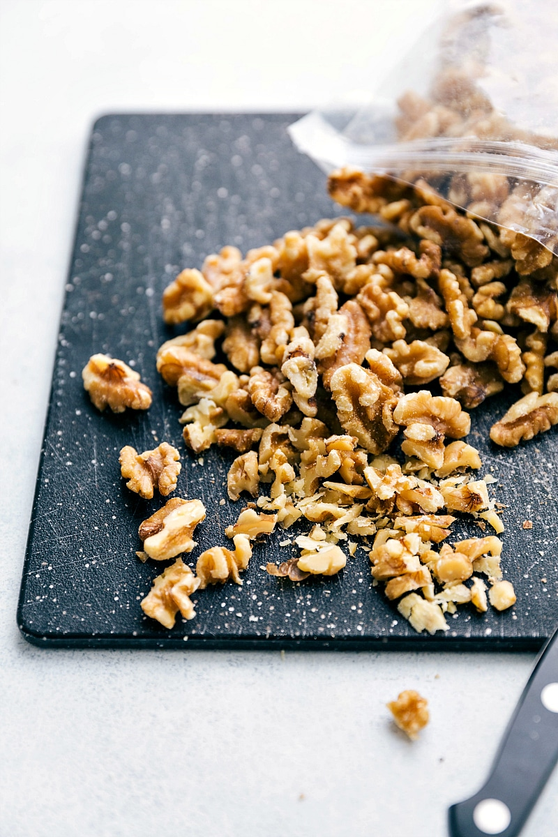 Walnuts being chopped for the banana crepes