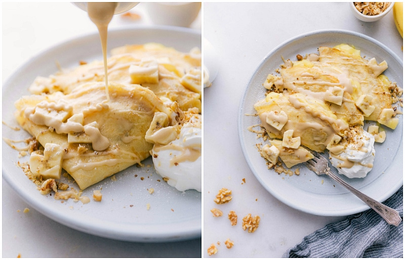 Image of the syrup being added to these banana crepes