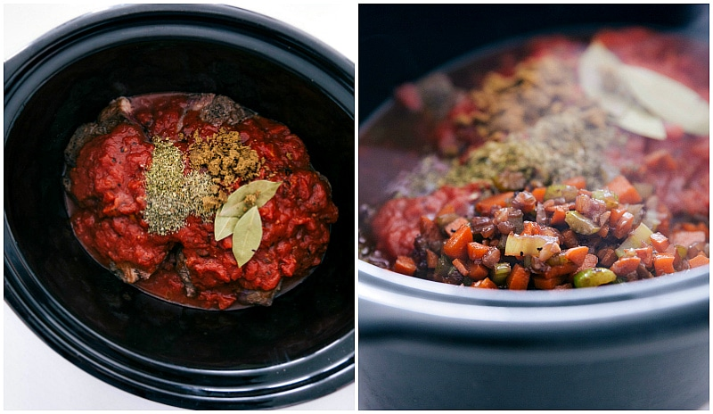Overhead image of the seasonings and vegetables being added to the crockpot for this beef ragu slow cooker recipe.