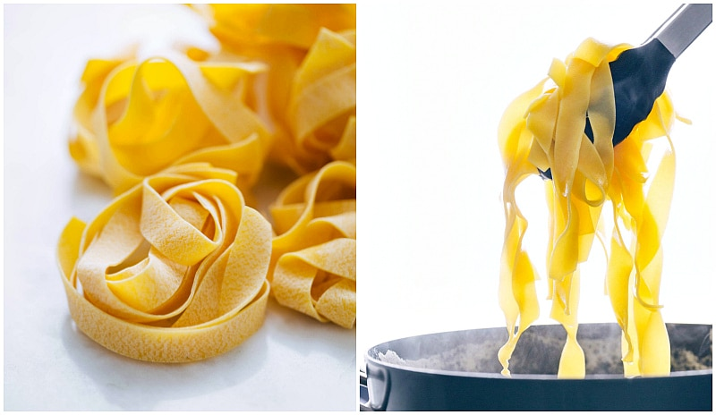 Image of the pappardelle pasta that is used in this beef ragu pappardelle recipe.