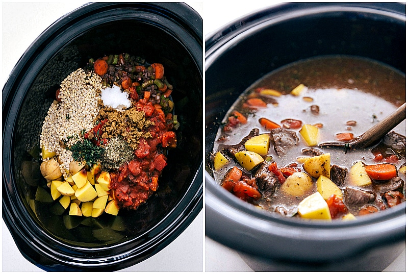 Process shots for this easy beef and barley soup -- adding all the ingredients to the crockpot