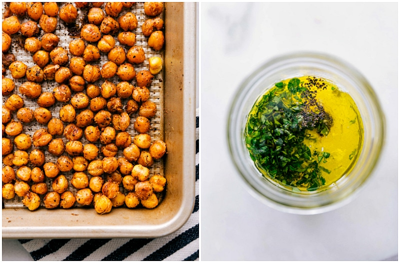 Images of the roasted chickpeas and the lemon dressing.