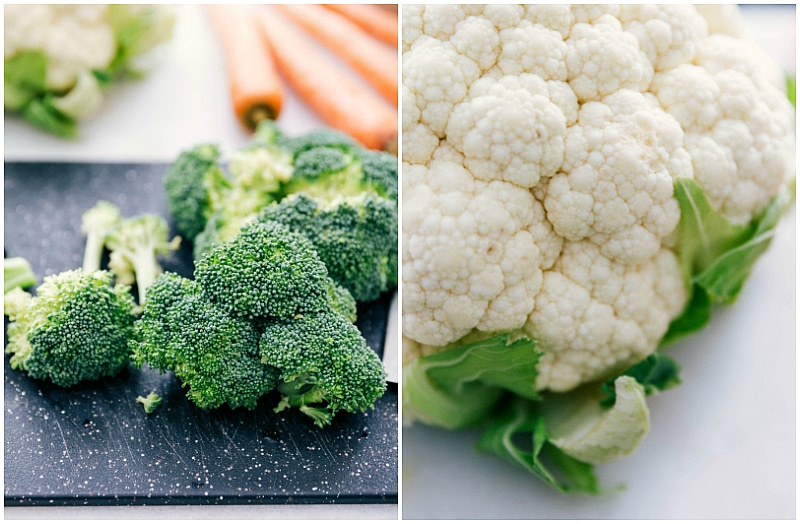Image of the broccoli and cauliflower that are going to be used in these Pesto Roasted Veggie Bowls