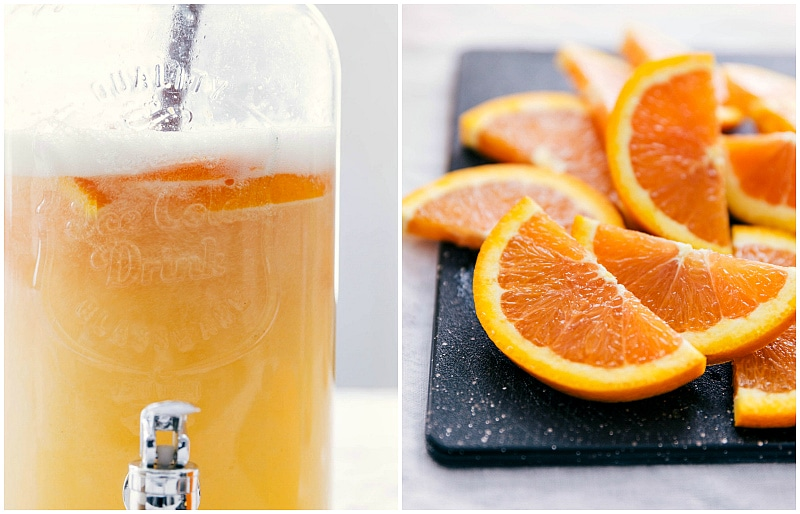 Image of Cara Cara oranges being added to the fruit punch recipe