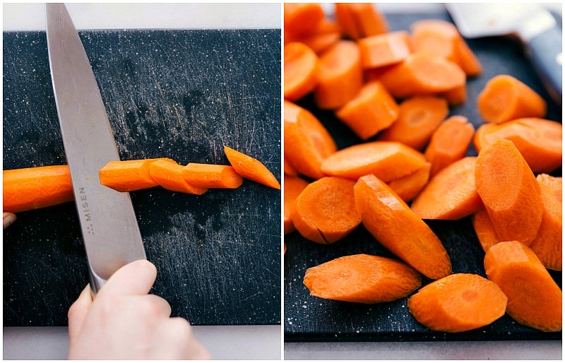 Overhead image of the carrots being chopped for this Roasted Carrots recipe.