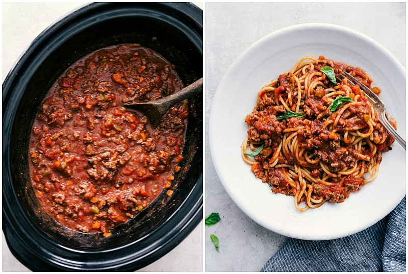 Deliciously easy spaghetti bolognese recipe in the crockpot and on a plate