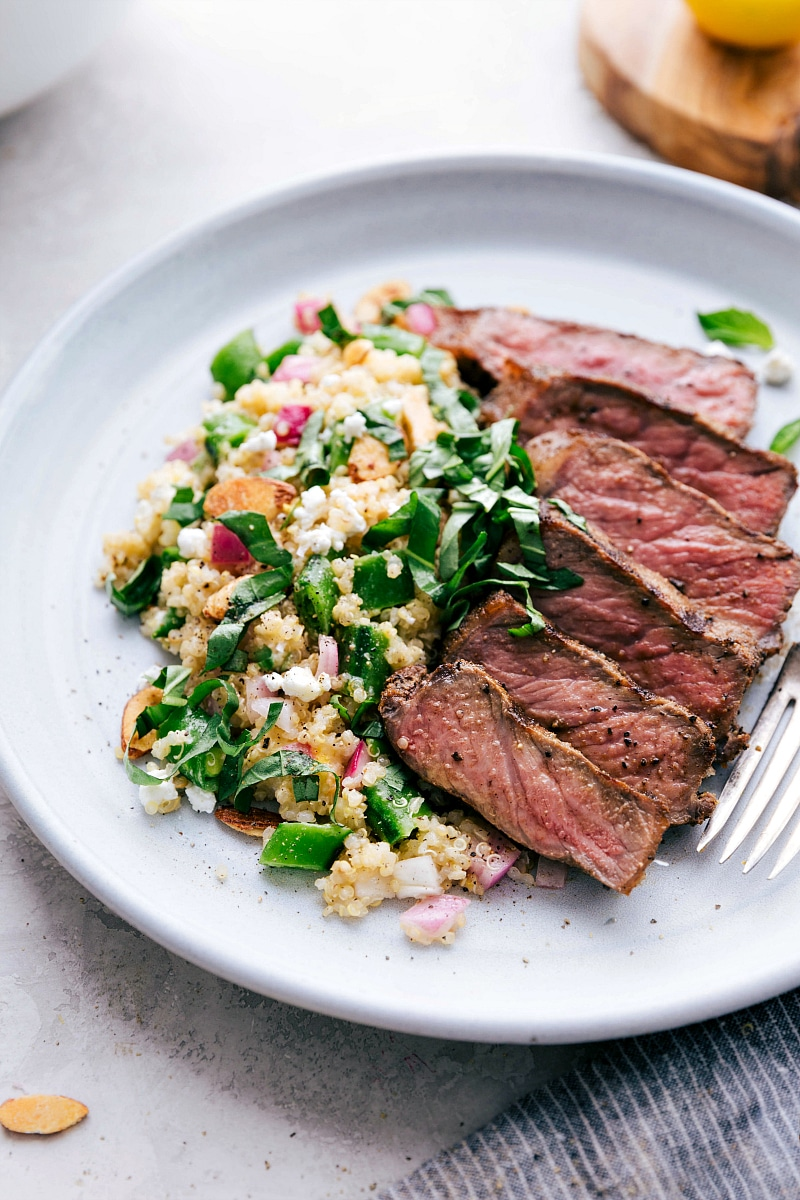 Photo of Spring Quinoa Salad with side of Grilled Steak.