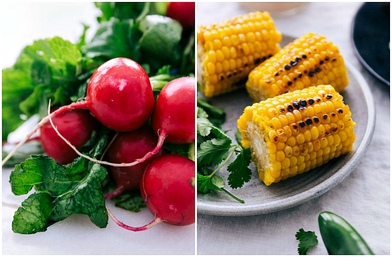 Shot of radishes and grilled corn