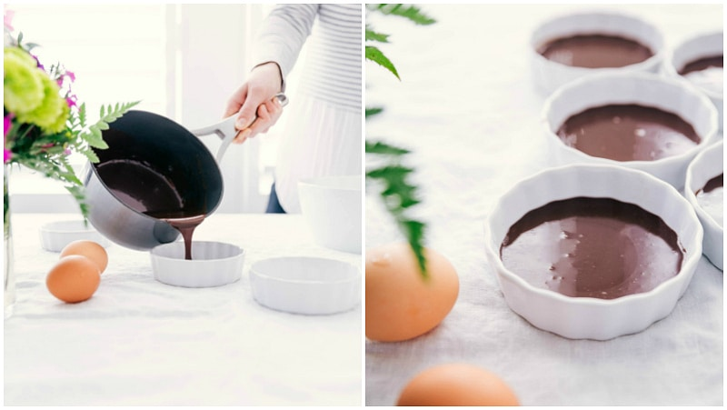 Image of the chocolate layer being poured into the ramekins for these Chocolate Creme Brulees