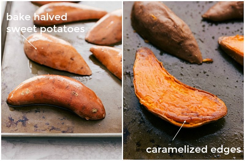 Image of the sweet potato halves that go in these baked sweet potatoes
