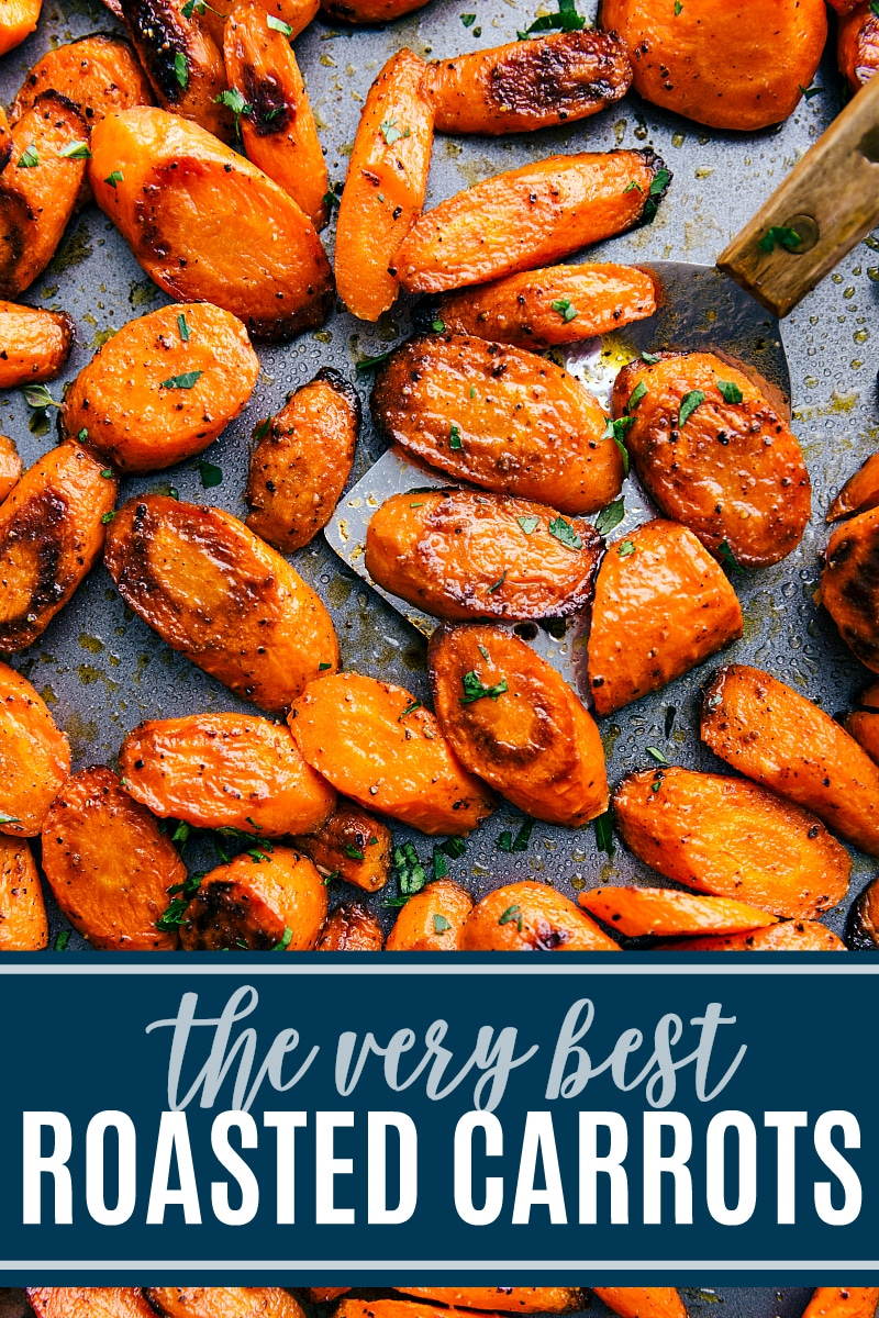 These delicious roasted carrots make the perfect side dish to just about any meal. Roasting at a high temperature brings out their natural sweetness and gives them the perfect caramelized edges and tender-crisp texture. Both a sweet and a savory recipe included. via chelseasmessyapron.com #carrot #carrots #roasted #vegetable #vegetables #easter #christmas #thanksgiving #dinner #quick #easy
