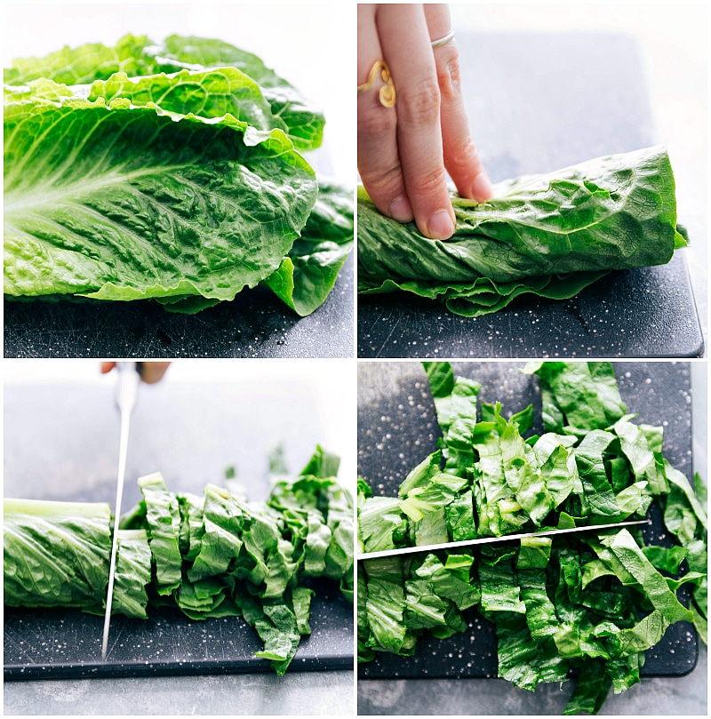 Image of the head of romaine lettuce being cut for this black bean corn salad recipe