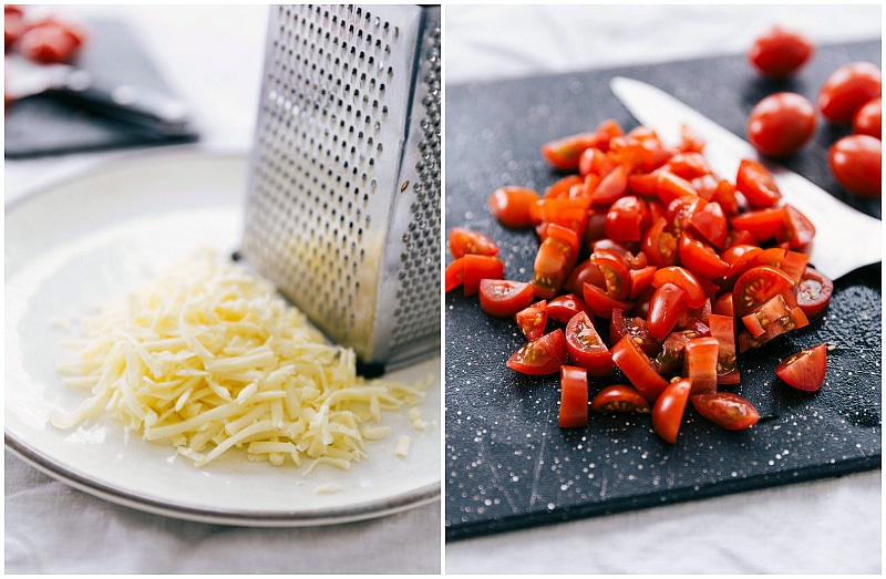 Cheese grated by a greater and sliced cherry tomatoes