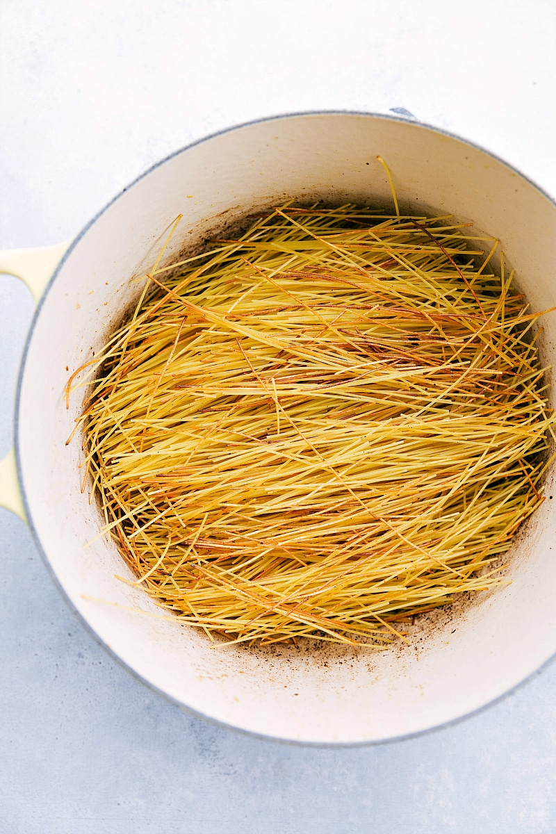 Toasted angel hair pasta in a pot