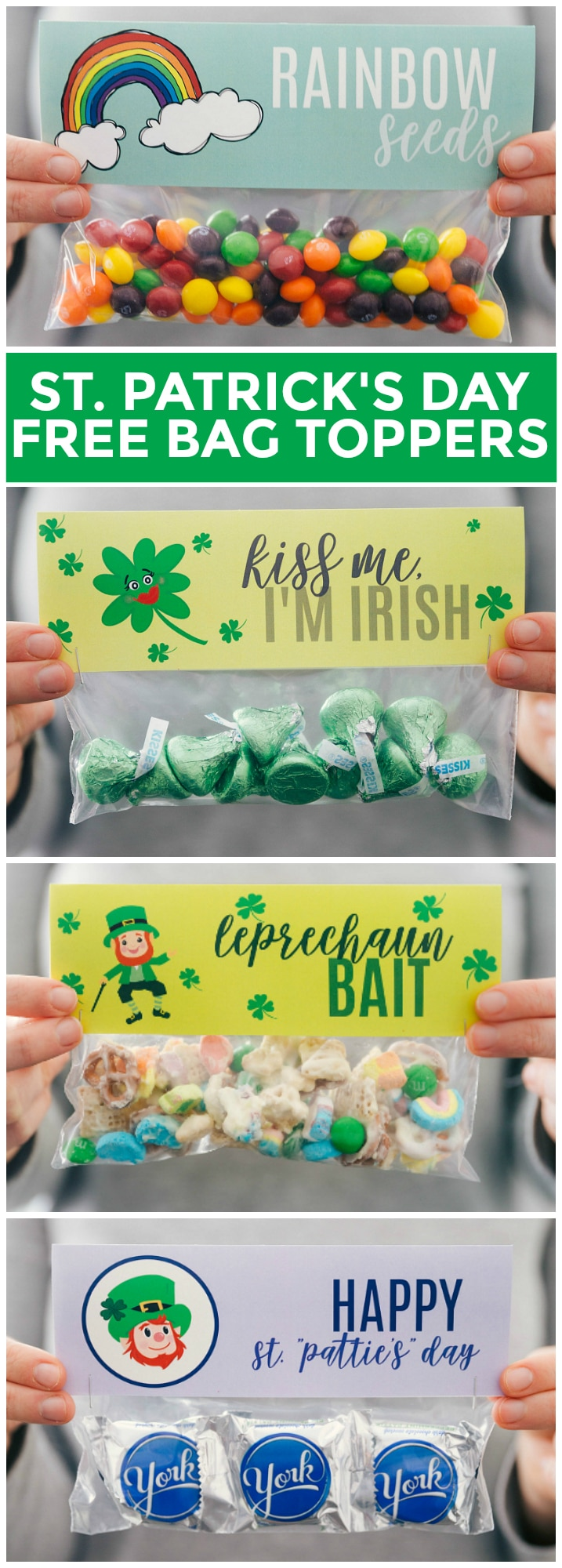 4 Easy St Patricks Day Treats with FREE Printables via chelseasmessyapron.com