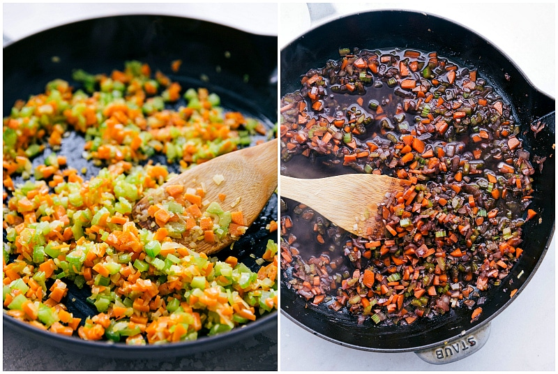 pictures of veggies being sauteed