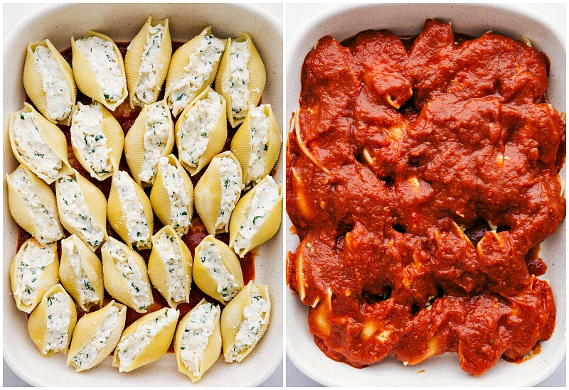Shells placed in pan with marinara sauce over the shells
