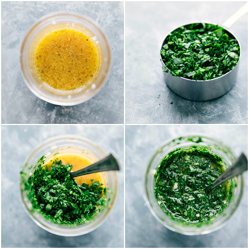 Chopped parsley being mixed with liquids