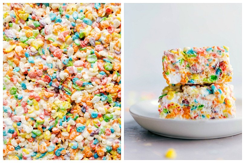 Process shots: making Fruity Pebbles Rice Krispies Treats.
