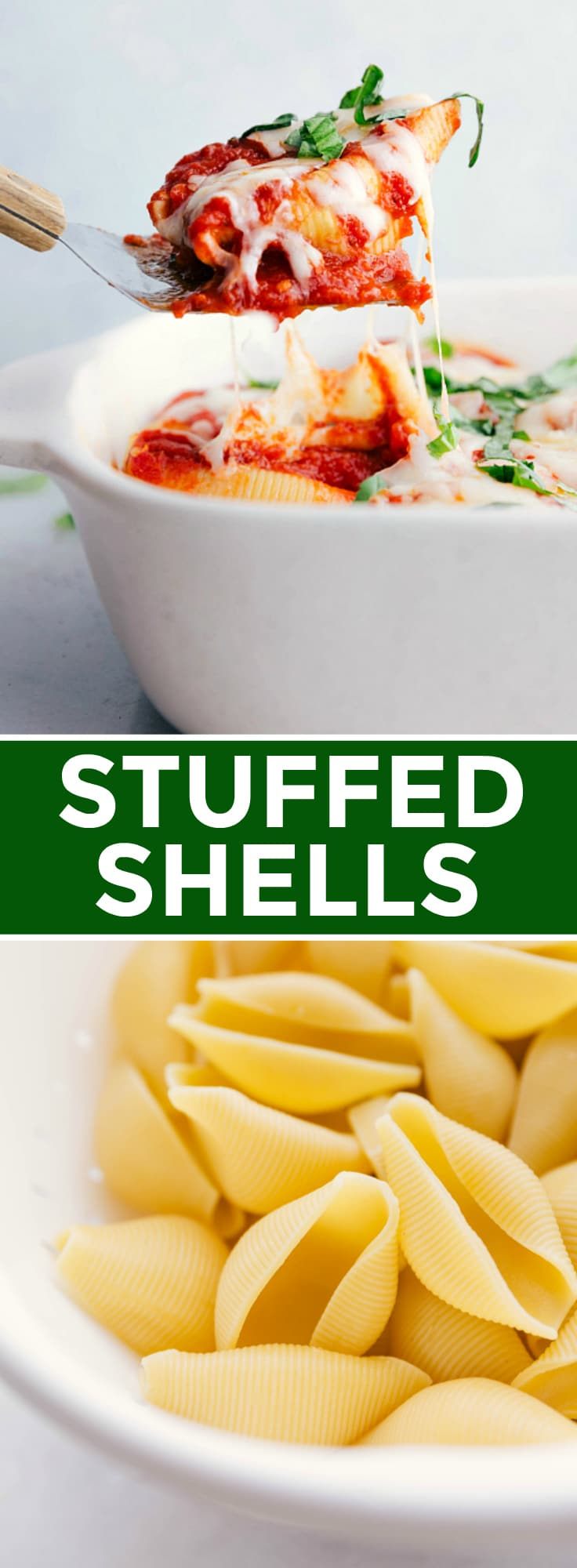 These classic stuffed shells are made with cooked pasta shells, a cheesy ricotta filling, a few Italian herbs, and plenty of marinara! This cheesy pasta dish is pure comfort food and couldn't be simpler to make. via chelseasmessyapron.com #stuffed #shells #easy #quick #dinner #vegetarian #pasta #cheese #ricotta #marinara