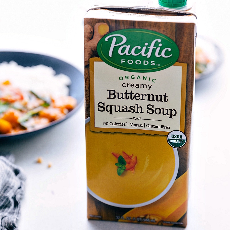 Image of the creamy butternut squash soup from Pacific Foods that goes into this butternut squash thai curry
