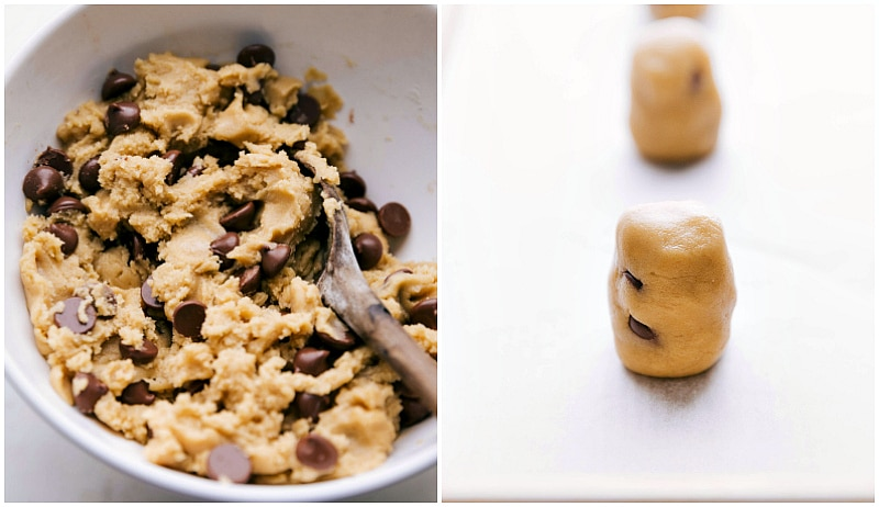 Image of the cookie dough with chocolate chips added and another image of the cookie dough rolled into balls for this chewy choc chip cookies