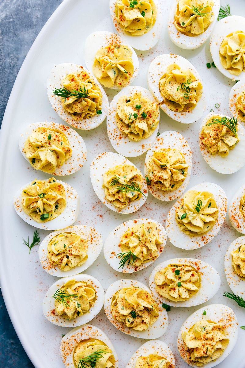 Finished photo of a platter of deviled eggs