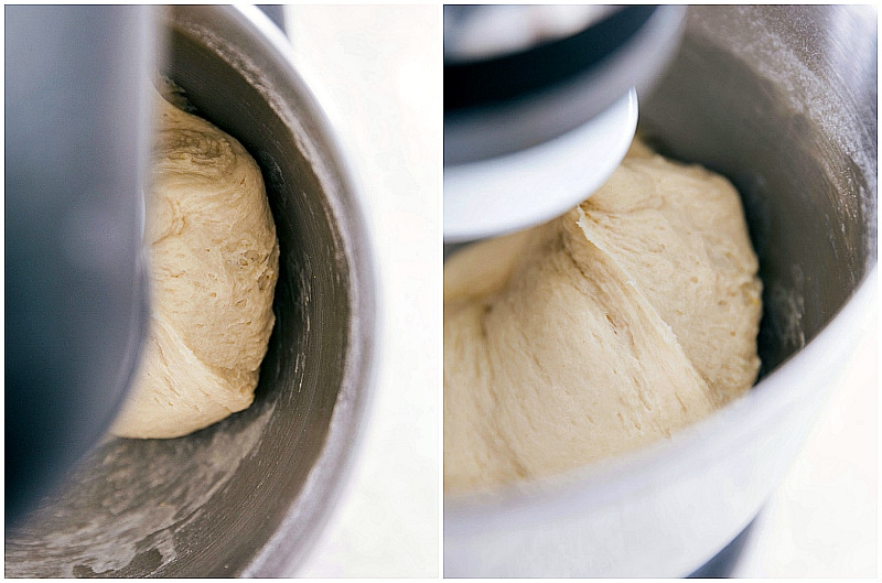 Image of the mixers mixing the dough as it's started to set up for these easy dinner rolls