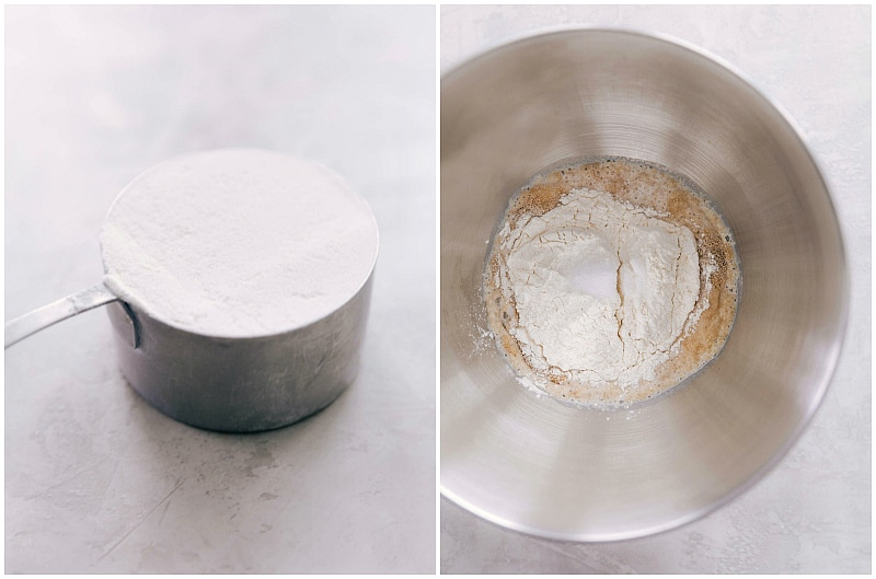 Image of the spooned and leveled flour and it being added to the mixing bowl for this dinner roll bread recipe