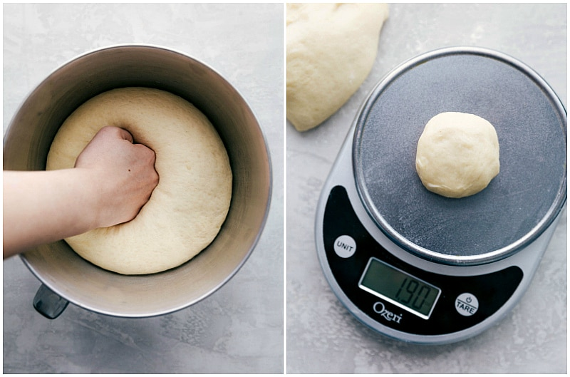 Image of a hand punching down the risen dough and then a food scale weight out 1.90 oz of dough for one roll for these easy dinner rolls