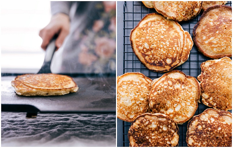 Image of Homemade Pancakes on the griddle and then on the cooling rack.