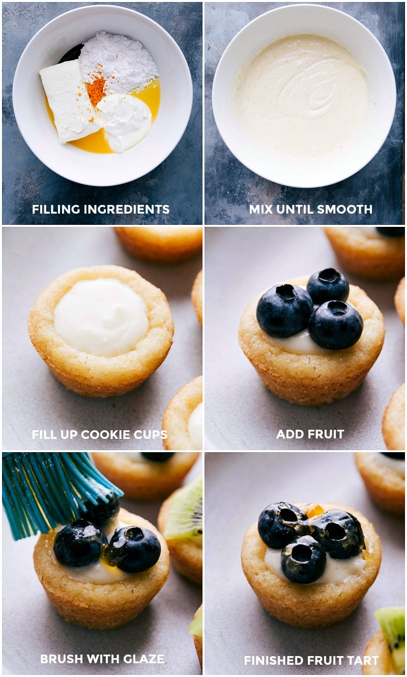 Images of the filling ingredients being mixed together and then added to the cups and topped with fresh fruit and brushed with the glaze.
