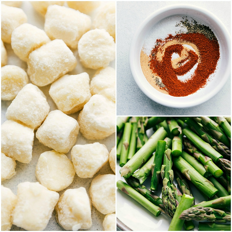 Process shot of trader joe's frozen cauliflower gnocchi, cut up asparagus, and easy seasoning mix