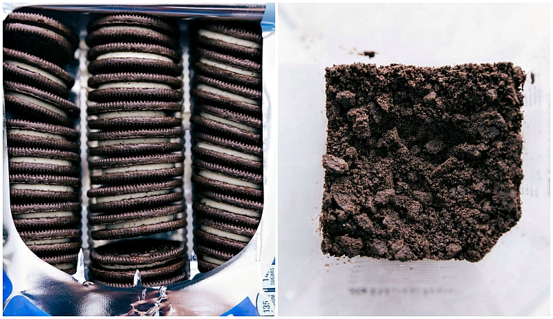 Process shots --A sleeve of Oreos; the Oreos being crushed in the blender