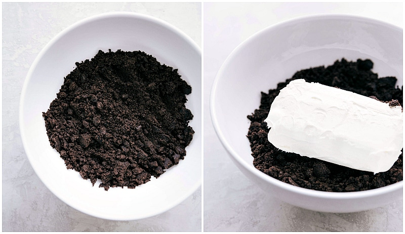 Process shot-- Image of the crushed up Oreos with cream cheese being added