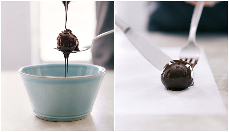 Process shot-- image of the Oreo Balls being dipped in chocolate.
