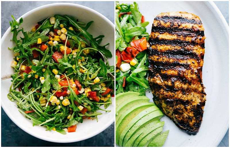 Overhead shot of the arugula salad in a bowl and the grilled Peruvian chicken on a plate ready to eat