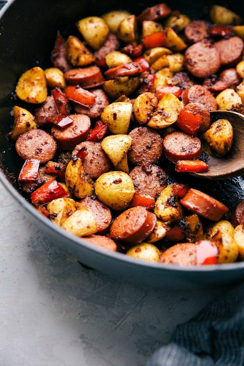 Close up detail shot of Sausage and Potatoes Skillet