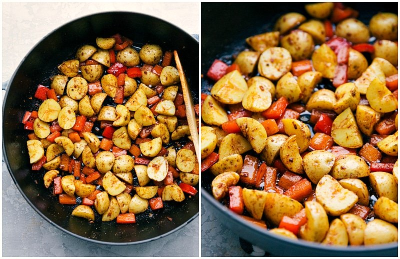 Image of the potatoes being added to the sautéed peppers to all cook together for this potato and sausage skillet recipe