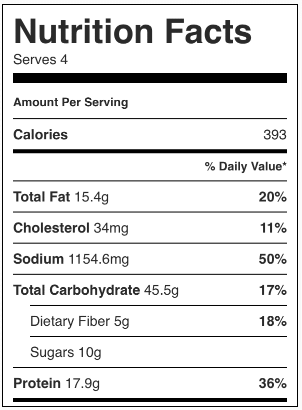Nutrition facts in beef chow Mein
