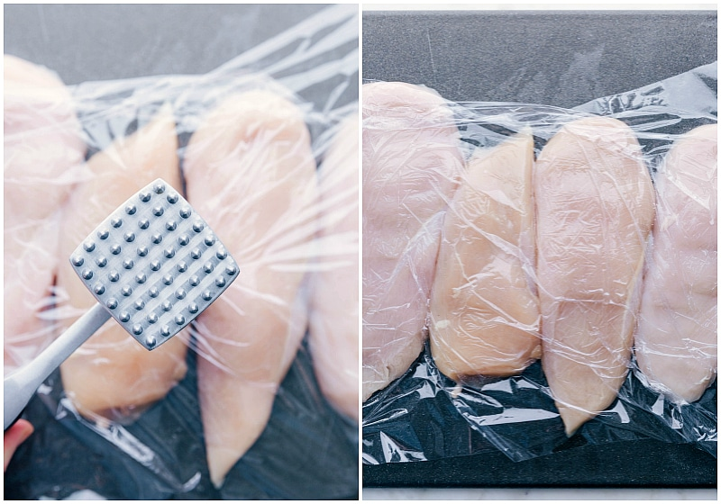Process shots: chicken being pounded to even thickness with a meat tenderizer