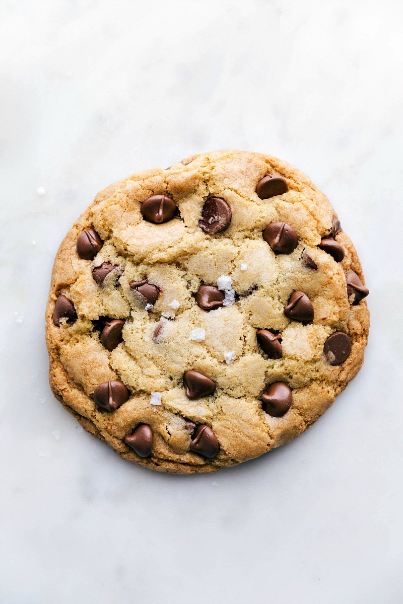 Overhead photo of bakery style chocolate chip cookie baked and out of the oven
