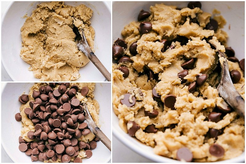 Image of the cookie dough and the chocolate chips being added for these bakery style chocolate chip cookies